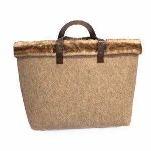 Fur Trim Felt Tote Bag New
